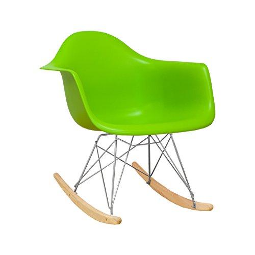 (Ergo Furnishings Mid-Century Eiffel Tower Molded Plastic Rocker Rocking Chair, Green )