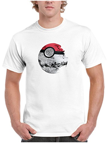 Price comparison product image Pokemon Star Wars Death Star Mens T-shirt, Pikachu Darth Vader R2D2 Yoda Tee 2XL White