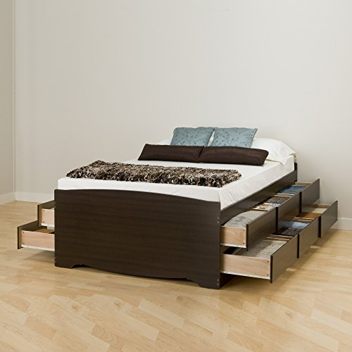 Prepac EBQ-6212-K Tall Queen Sonoma Platform Storage Bed with 12 Drawers, Espresso