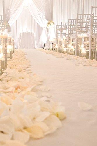 White-Sequin Aisle Runner Wedding-4FTX15FT Heavy Weight&High Density Carpet Aisle Floor Runner Accessories (White)