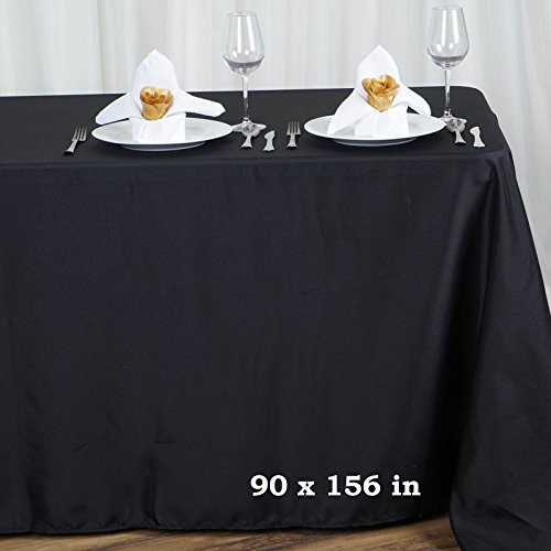 LinenTablecloth 90 x 156-Inch Rectangular Polyester Tablecloth Black