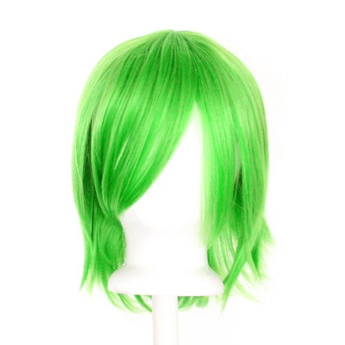 [Ren - Lime Green Wig 12'' Short Flare Cut] (Lime Green Wigs)
