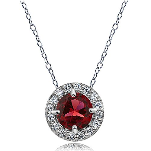 (Ice Gems Sterling Silver Created Ruby and White Topaz Round Halo Necklace)