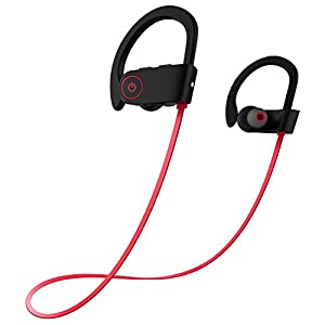 Otium Best Wireless Sports Bluetooth Headphones In-Ear Earbuds IPX7 Waterproof Earphones Stereo with Mic Bass Noise Cancelling Bluetooth V4.1 for iPhone Android Smartphones