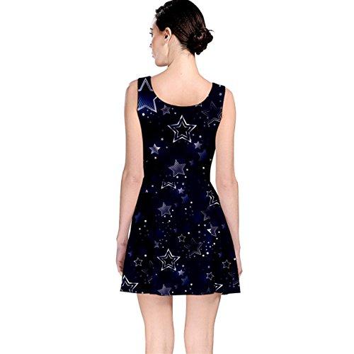 Cowcow Bleu Nuit Noir Avec Une Robe Patineuse Stars Argent Brillant