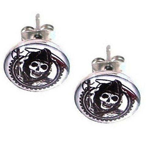 Mens Or Womens Stainless Steel Sons Of Anarchy Stud Earrings   10 Mm Diameter   39