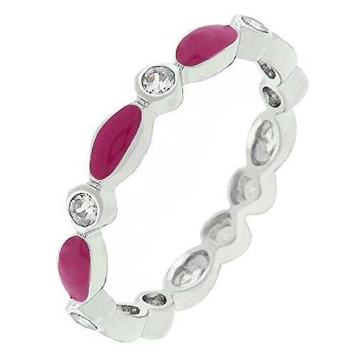 - FB Jewels Solid Fuchsia Link Enamel Stacker Ring