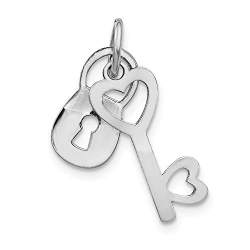 - 14k White Gold Polished Lock and Key Charm or Pendant, 7mm