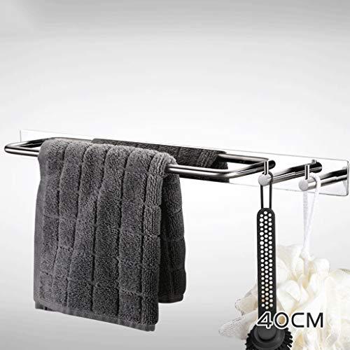 OUOXI Towel Rack Bathroom Free Punching Stainless Steel Single Pole Creative Multifunctional Hook Entity Towel Rack (Color : Multi-Function Hook Rod 40cm)