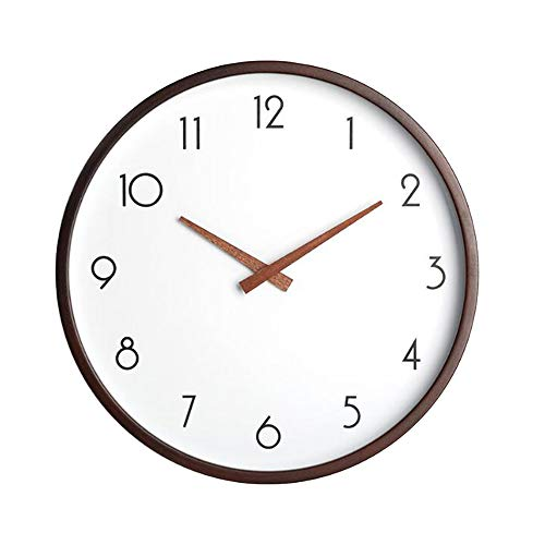 - JUSTUP 12in Wood Wall Clock, Large Silent Non-Ticking Wall Clock Vintage Battery Operated Round with Sweep Quartz Movement and HD Glass Easy to Read for Indoor Decor (Brown)