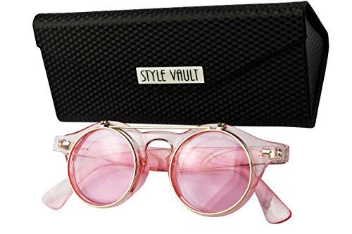 W110-fc Flip up round wayfarer steampunk Sunglasses (Candy pink - 90s Shades