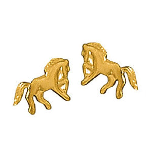 So Chic Jewels - Child 18k Gold Plated Galloping Horse Riding Stud Earrings
