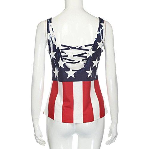 vovotrade Bandera de los Estados Unidos Bandera de la mujer Impresión del hombro Sin mangas Tank Tops de la cosecha Camiseta de la blusa
