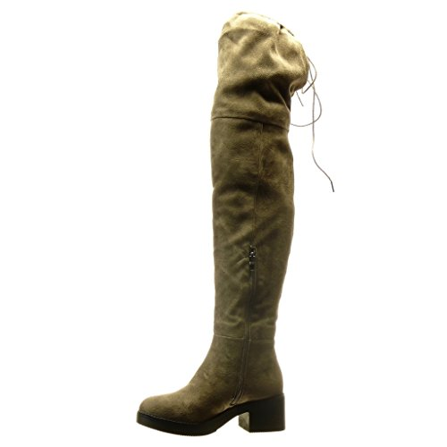 Angkorly Damen Schuhe Oberschenkel-Boot Stiefel - Sexy - Flexible Blockabsatz High Heel 5 cm cm Taupe