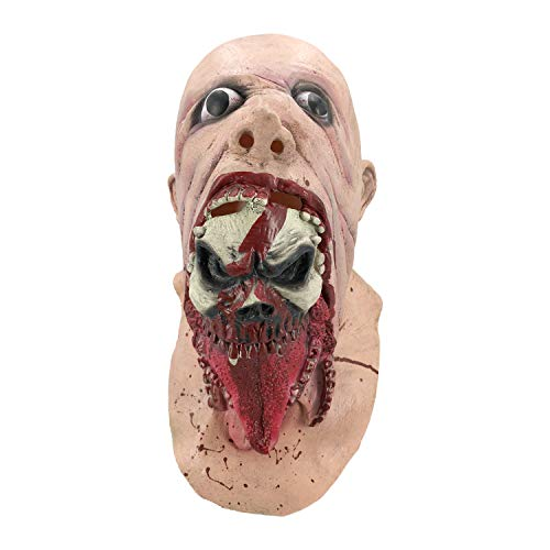 Blurp Charlie Mask, Scary Big Mouth Zombie, Horror Ghoulish Latex Mask for Halloween Pink]()