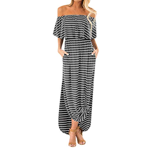 (FEITONG Women Stripe Beach Maxi Dress Off Shoulder Ruffle Casual Side Split Dresses with Pockets (Gray,X-Large))
