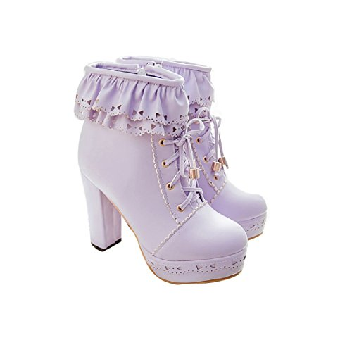 Susanny Womens Office Party Sweet Lolita Platform Chunky High Heel Pu Lace Up Purple Ankle Boots 6 B  M  Us