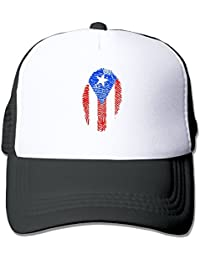 Men/Women Puerto Rico Flag Fingerprint Mesh Snapback Hats Adjustable Hip-hop Cap
