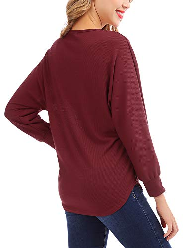 FISOUL Womens Blouse Long Sleeve V Neck Button Down T Shirts Tie Front Knot Casual Tops by FISOUL (Image #3)