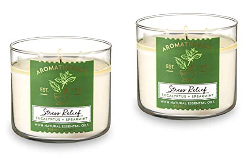 Bath & Body Works, Aromatherapy Stress Relief 3-Wick Candle, dfrDhp, 2 Pack (Eucalyptus Spearmint) ()