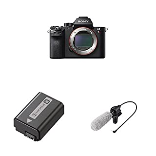 Sony a7R II Full-Frame Mirrorless Interchangeable Lens Camera, Body Only (Black) (ILCE7RM2/B) with Lithium-Ion 1020mAh Rechargeable Battery and Shotgun Microphone (Black)