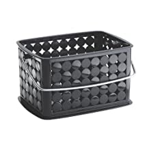 InterDesign Orbz Bathroom Shower Basket with Handle for Shampoo, Cosmetics, Beauty Products - Small, Black