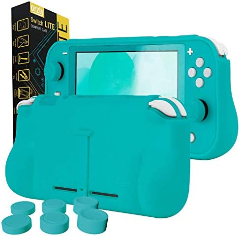 Orzly Grip Case for Nintendo Switch Lite – Case with Comfort Padded Hand Grips, Kickstand, Pack of Thumb Grips - Turquoise Blue