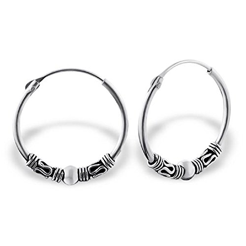 925 Sterling Silver 18mm Bali Endless Hoop Earrings 20595