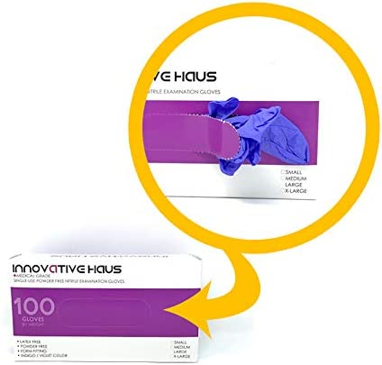 Small Innovative Haus NGSM Nitrile Gloves,Powder Free,Latex Free Gloves,Disposable Gloves,Gloves Disposable,Non Sterile,Food Gloves,Textured,Indigo Color,Box of 100