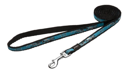 Rogz Fancy Dress Small 3/8-Inch Jellybean 6-ft Long Fixed Dog Lead, Turquoise Chrome Design, My Pet Supplies