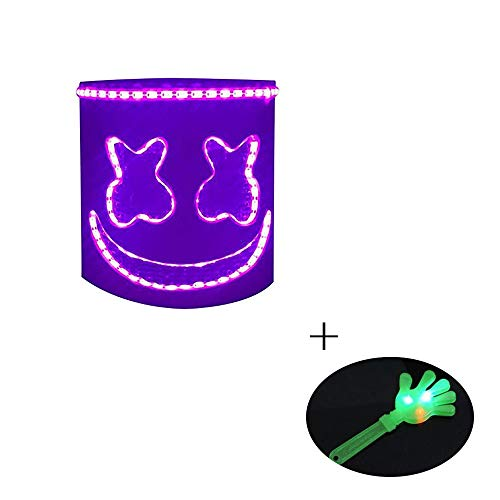 UMYMAYDO1 DJ Marshmello Mask Music Festival Helmets Halloween Party Cosplay Novelty Costume Party Mask Rubber Latex Ultra Cool Full Head Mask (Purple LED)