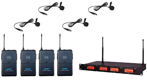 Four Channel UHF Wireless Cordless Microphone Lapel Lavaliere mic system New
