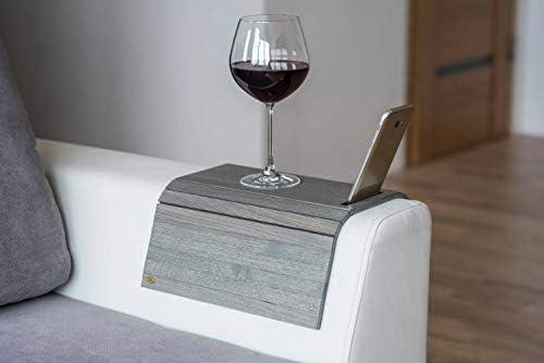 Sofa arm Table Sofa Table Couch arm Table Sofa arm Tray Sofa Tray Wood Coaster Couch Table Sofa arm armrest Table Custom Sofa (New Grey) (with Phone Holder)