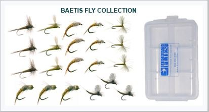 Baetis Trout Fly Fishing Flies Collection 21 Flies + Fly Box by Discountflies