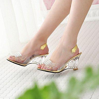 Crystal Leatherette Heel Silver 5 5 Translucent Cn37 Heel Golden Wedge 7 Golden Spring Us6 Dress Casual Outdoor Summer Women'S Fall Uk4 Eu37 RTRY 5 5Sqv88