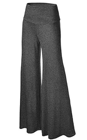 Coolred Women Fashion Smocked Waist Super Wide Leg Denim Pants Dark Grey XL - Smocked Waist Silk Blouse