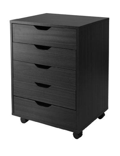 Winsome Halifax Cabinet for Closet/Office, 5 Drawers, (Black Office Furniture)