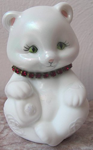 Fenton Milk Sand Carved Birthstone Necklace Solid Glass Sitting Bear - Rosso (Ruby Fenton)