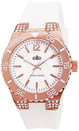 Elite Models' Fashion E53240G-801 Damen-Armbanduhr - Quarz - analog - weißes Zifferblatt - Silikonarmband - Weiß