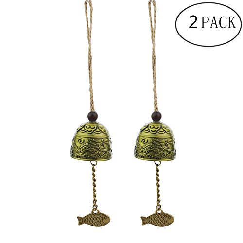 Kasteco 2 Pack Vintage Dragon Chinese Feng Shui Bell Good Luck Bless Home Garden Hanging (Feng Shui Bell)