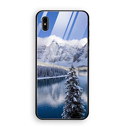 iPhone X Case Tempered Glass Moraine Lake in Winters Protective Bumper Cover for iPhone X
