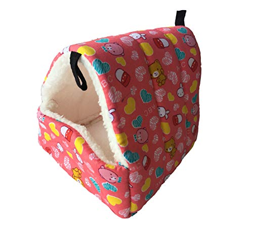 WOWOWMEOW Small Animals Warm Fleece Bed Cage Hanging Cave Beds for Guinea-Pigs, Hamster, Squirrel, Chinchilla and Small Bird (S, Magenta)