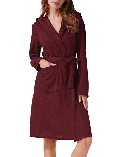 Waffle Weave Dress - Costyleen Women Men Hotel Spa Waffle Weave Kimono V Neck Sleepwear Bathrobe Hooded Red XL