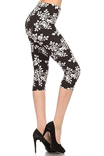 Simlu Womens Seamless Fitted Printed Capri Workout Leggings Shapewear,Elegant White Floral,One Size Plus