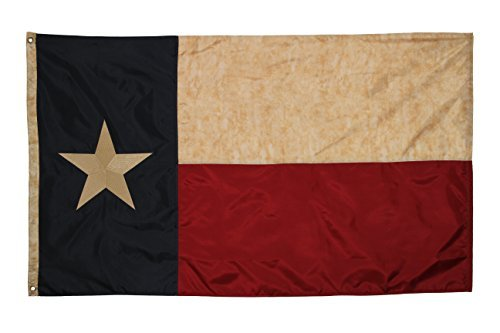 Embroidered Texas Vintage Flag (Premium Grade Polyester), 3' X 5' (Classic Texas Flag)