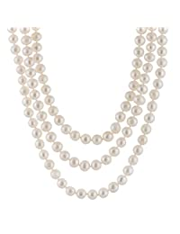 """Handpicked A Quality 9-10mm White Freshwater Cultured Pearl Strand Endless 80"""" Necklace"""