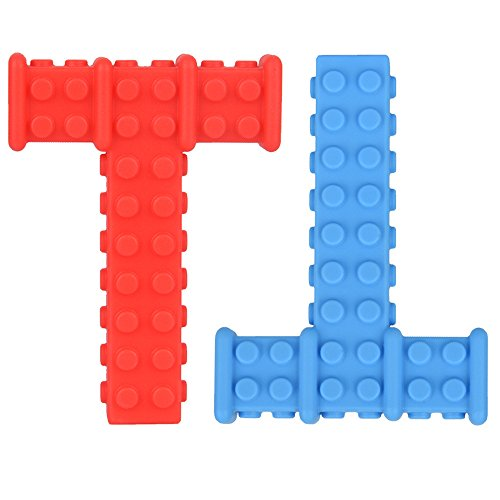 Big Sensory Chewy Brick for Kids, Boys and Girls - Designed for Teething, Autism, Biting, Chewing - 2-Pack (Red and Blue) - Knobby Chew Stick - Super Chewie Stim Toys