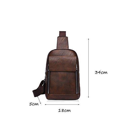 CLOTHES- Wasserdichte Schulter schiefe Kreuz PU wilden Mode Freizeit Reisetasche Mann Europa und die Vereinigten Staaten Brust Tasche ( Farbe : Braun ) Braun