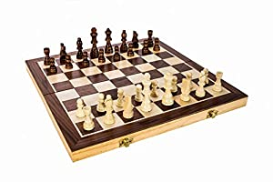 """High Quality 15"""" Classic Folding Wooden Chess Set - Includes Wood Pieces, Board & Storage Pouches! (2015 Model)"""