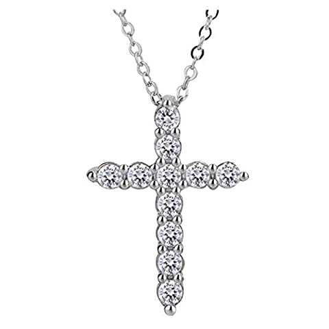 S925 Silver Plated Cubic Zirconia Shining Jesus Christ Cross Charm Women Pendant Necklace,18'' - Cubic Zirconia Cross Charm